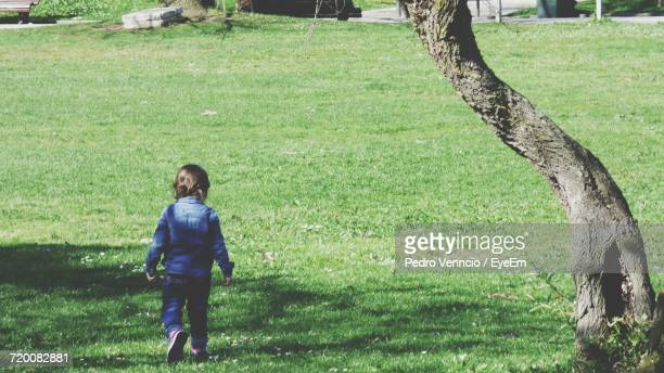 Rear View Of Girl Walking On Grass At Park