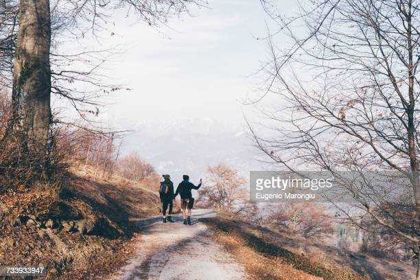 Rear view of hiking couple hiking along rural road, Monte San Primo, Italy