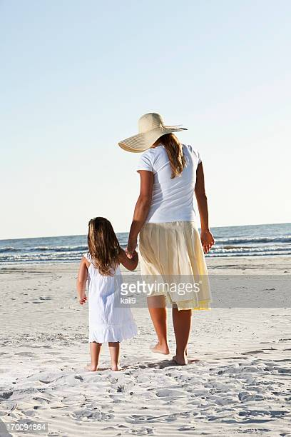 Rear view of little girl with mother on beach