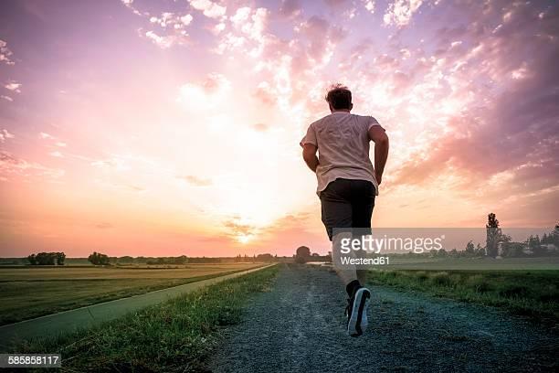 Rear view of man jogging at sunset
