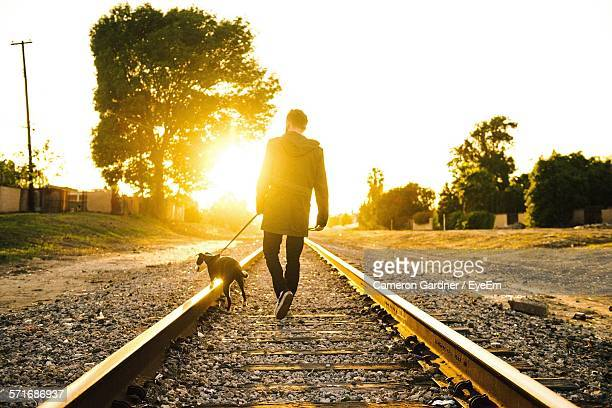 Rear View Of Man Walking With Dog Along Railroad Tracks At Sunset