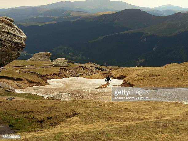 Rear View Of Man With Dog On Mountain
