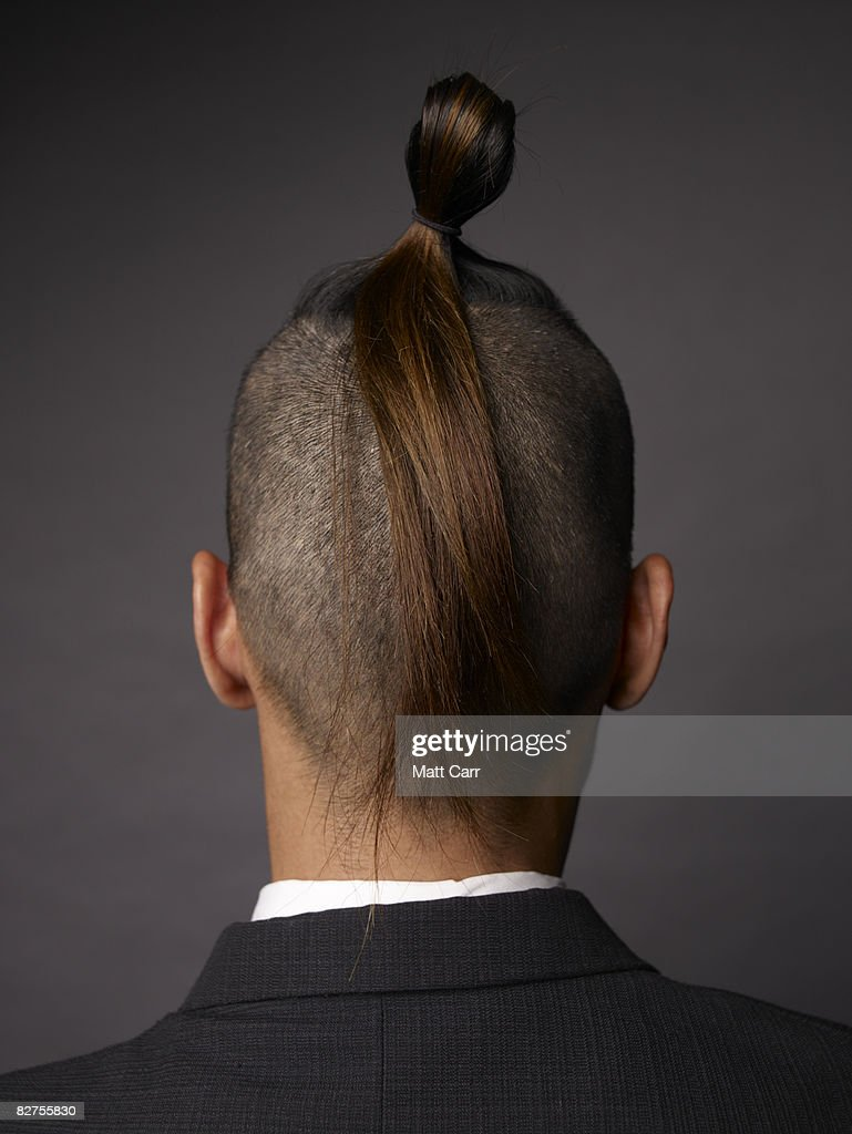 Rear view of man with mohawk