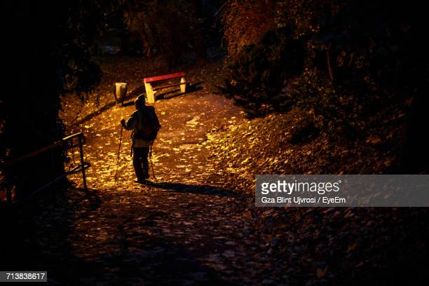 Rear View Of Man With Walking Canes On Footpath At Night