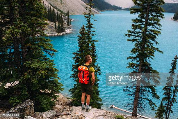 Rear view of mid adult man standing on cliff edge looking at elevated view of Moraine lake, Banff National Park, Alberta Canada