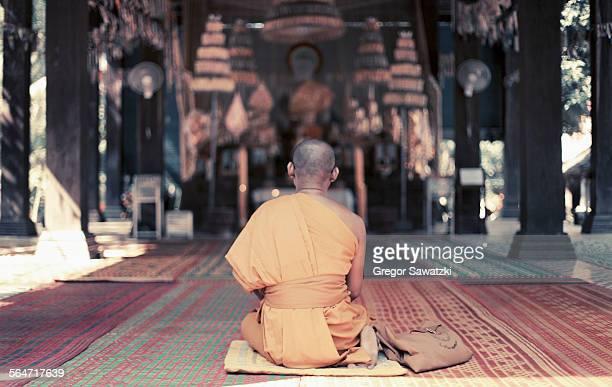 Rear view of monk sitting at Angkor Wat, Cambodia