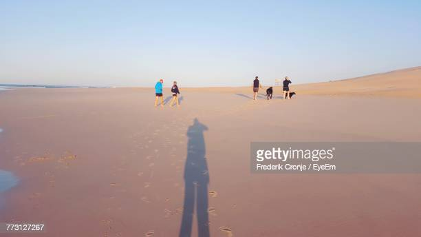 Rear View Of People Walking On Sand At Beach Against Clear Sky