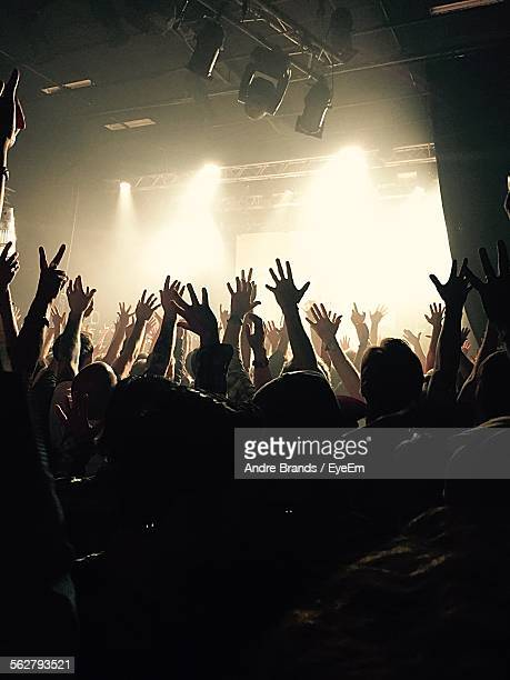 Rear View Of People With Arms Raised Enjoying Music Concert