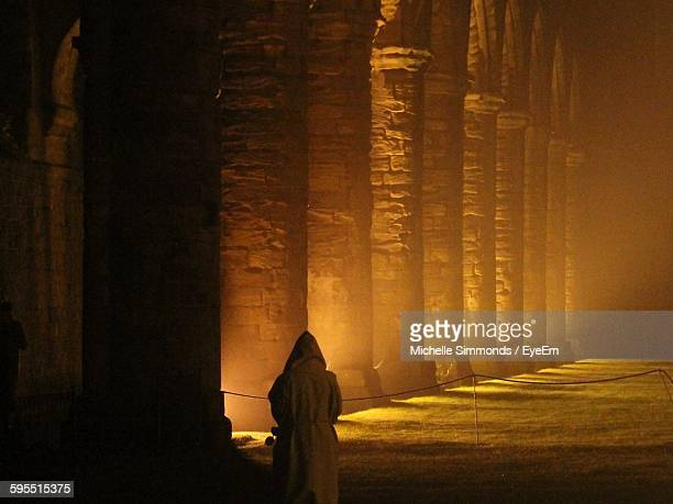 Rear View Of Person In Hooded Shirt In Fountains Abbey