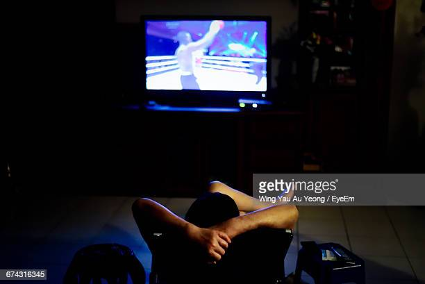 Rear View Of Person Watching Television
