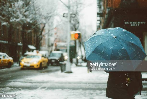Rear View Of Person With Umbrella Standing On Road During Winter