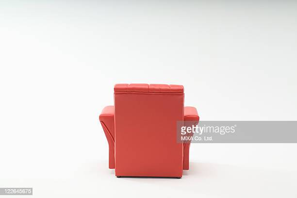 Rear view of red sofa