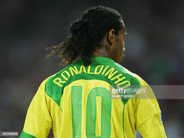 A rear view of Ronaldinho of Brazil during the FIFA Confederations Cup Match between Mexico and Brazil held at The AWD Arena on June 19 2005 in...