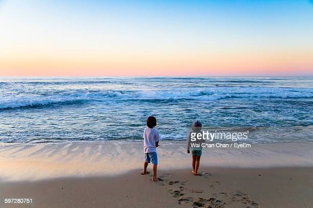 Rear View Of Siblings Standing At Beach During Sunset