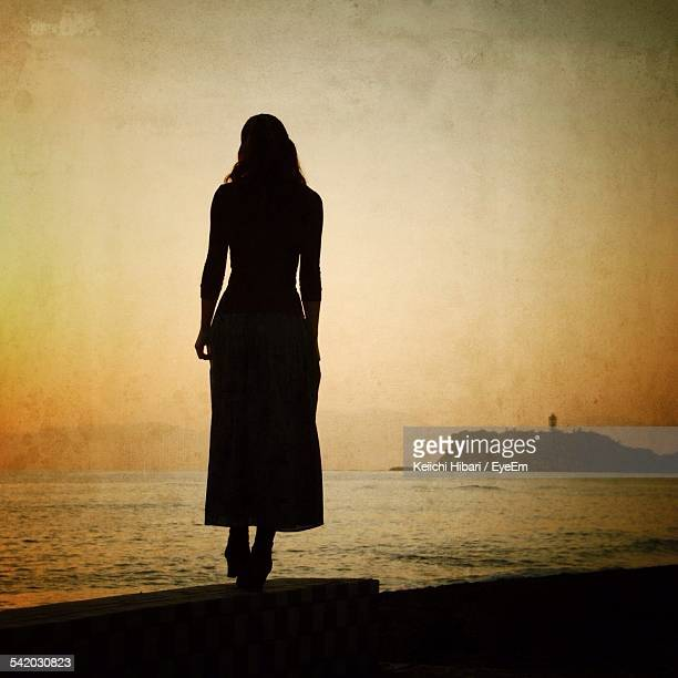 Rear View Of Silhouette Woman Standing On Retaining Wall By Sea