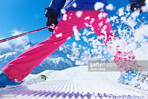 Rear view of skier, Chamonix, France