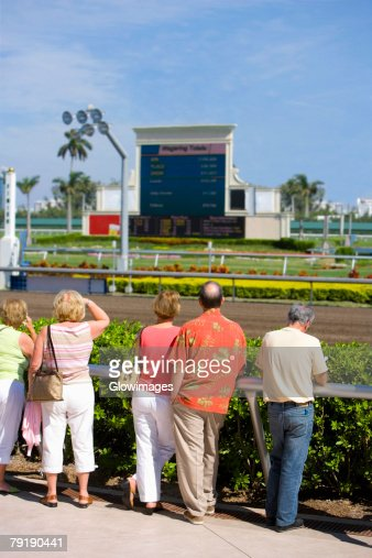 Rear view of spectators standing near the horseracing track : Foto de stock