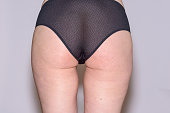 Rear view of the butt in underwear in a close up view