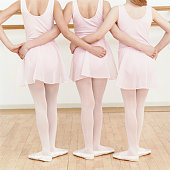 Rear View of Three Young Ballet Dancers Standing in a Line With Their Arms Around Each Other