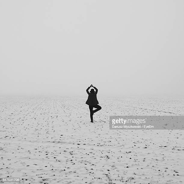 Rear View Of Woman Doing Yoga In Snowy Field
