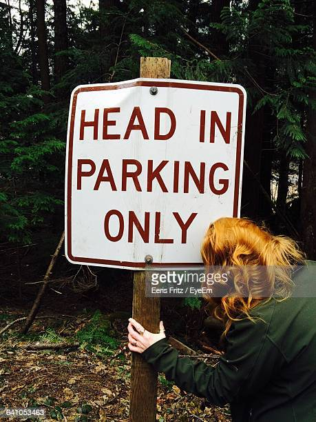 Rear View Of Woman Holding Information Sign Board In Forest