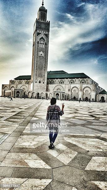 Rear View Of Woman Visiting Mosque Hassan Ii