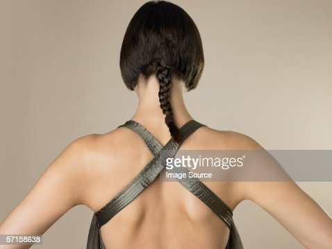 Rear view of woman with braid