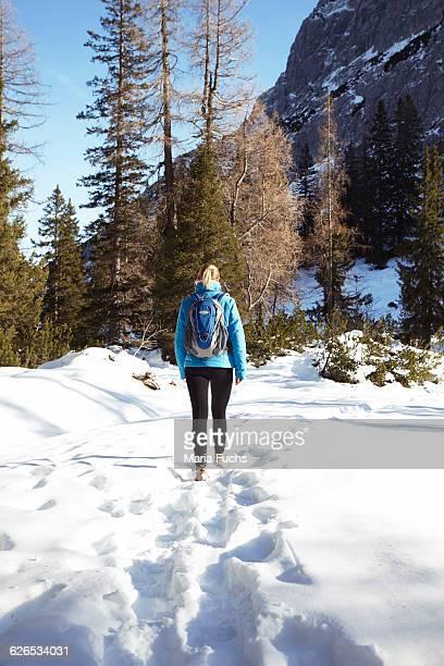 Rear view of young woman hiking through mountain snow, Austria