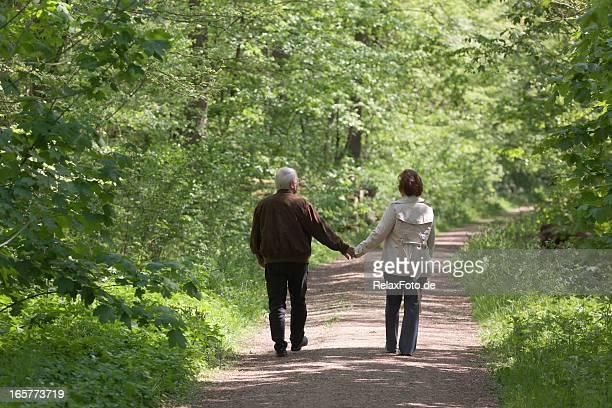 Rückansicht auf altes Paar zu Fuß durch den Wald in den Frühling