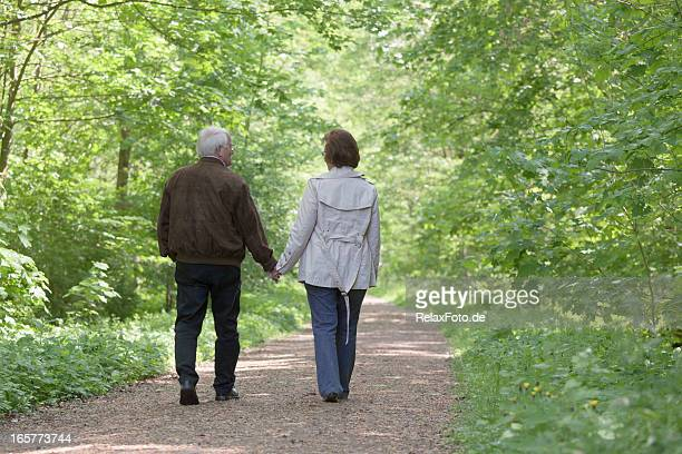 Vista posterior de la pareja senior caminando en el bosque de la primavera