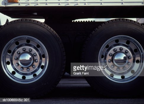 Rear Wheels Of Semi Truck Stock Photo | Getty Images