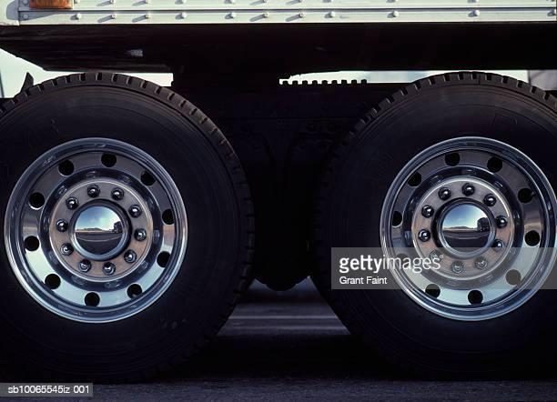 Rear wheels of semi truck
