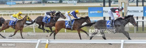 Reata ridden by Arron Lynch wins the XXXX Gold Maiden Plate at Racingcom Park Synthetic Racecourse on August 03 2017 in Pakenham Australia