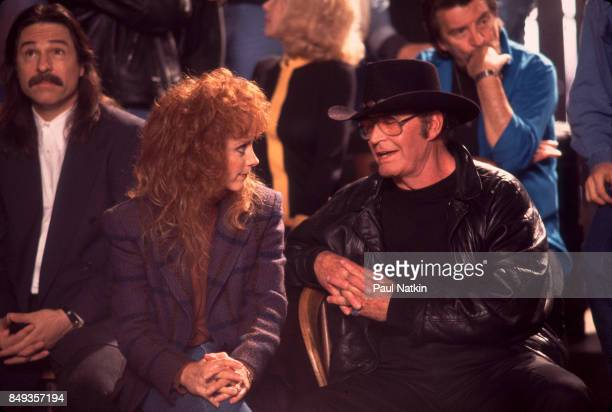 Reba McEntire and James Garner during a video shoot for the song Amazing Grace for the soundtrack of the film 'Maverick' at Amy Grant's farm in...