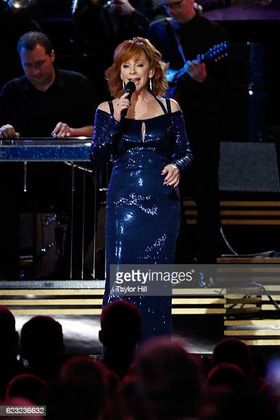Reba McEntire performs onstage during the 50th annual CMA Awards at the Bridgestone Arena on November 2 2016 in Nashville Tennessee