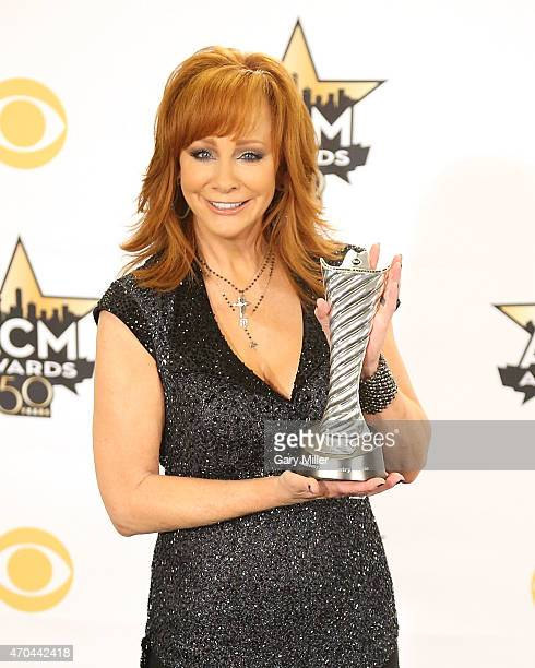 Reba McEntire poses in the press room at the 50th Academy of Country Music Awards at ATT Stadium on April 19 2015 in Arlington Texas