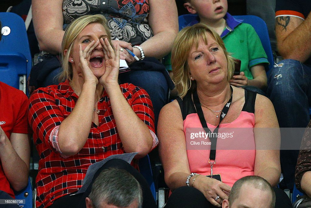 Rebbeca Adlington and mother Kay look on during Day One of the 2013 British Gas International Meeting at John Charles Centre for Sport on March 7, 2013 in Leeds, England.