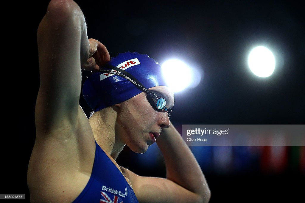 Rebbeca Turner of Great Britain prepares to swim during a training session prior to the FINA World Short Course Swimming Championships on December 11, 2012 in Istanbul, Turkey.