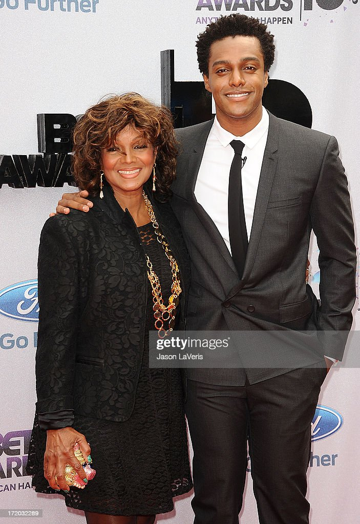 Rebbie Jackson and son Austin Brown attend the 2013 BET Awards at Nokia Theatre L.A. Live on June 30, 2013 in Los Angeles, California.