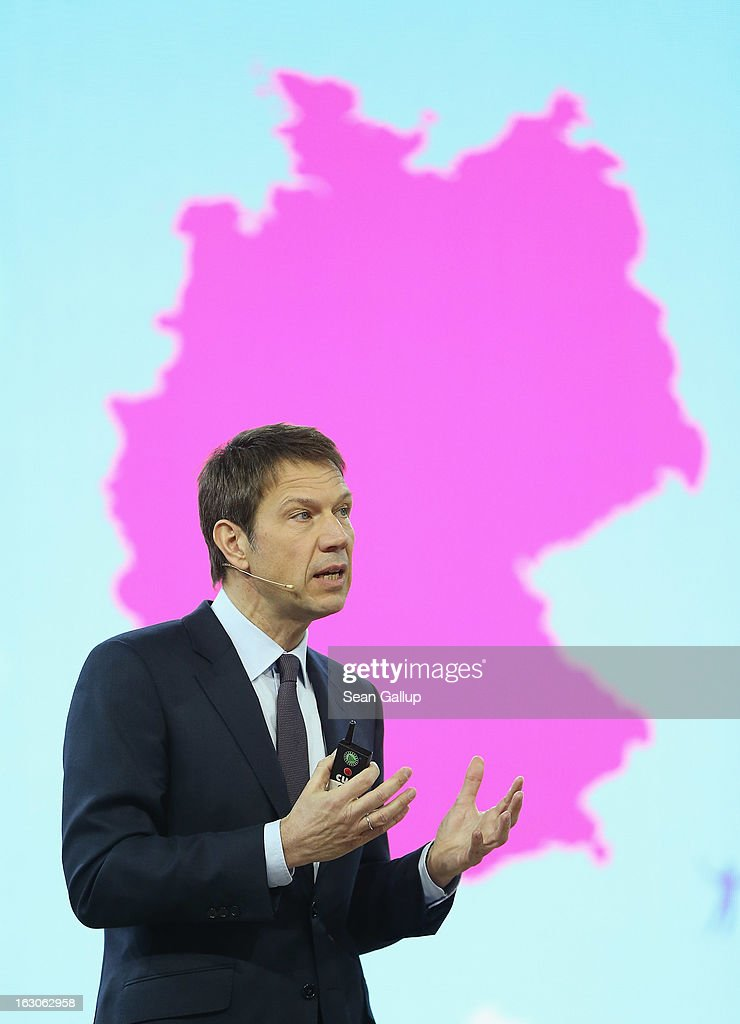 Rebe Obermann, CEO of Deutsche Telekom, presents the company's new initiative to operate 2.5 million WLAN hotspots in Germany by 2016 at the Deutsche Telekom stand at the 2013 CeBIT technology trade fair on March 4, 2013 in Hanover, Germany. CeBIT will be open March 5-9.