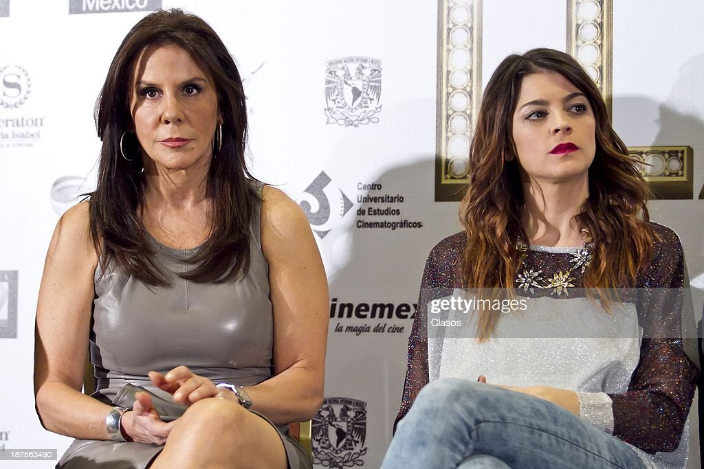Rebeca Jones and Irene Azuela during a press conference of te Mexican film Tercera Llamada at the Maria Isabel Sheraton Hotel on September 30, 2013 in Mexico City, Mexico.