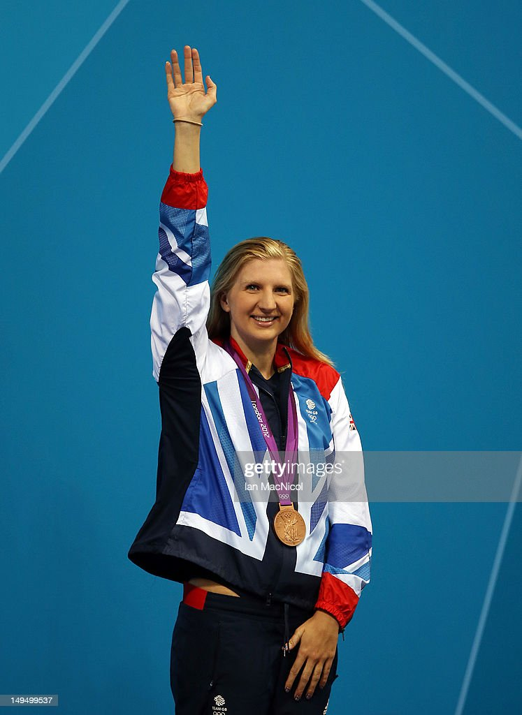 Rebecca Addlington with her Bronze Medal from the 400m Freestyle during the 2012 London Olympics at the Aquatics Centre on July 29, 2012 in London, England.