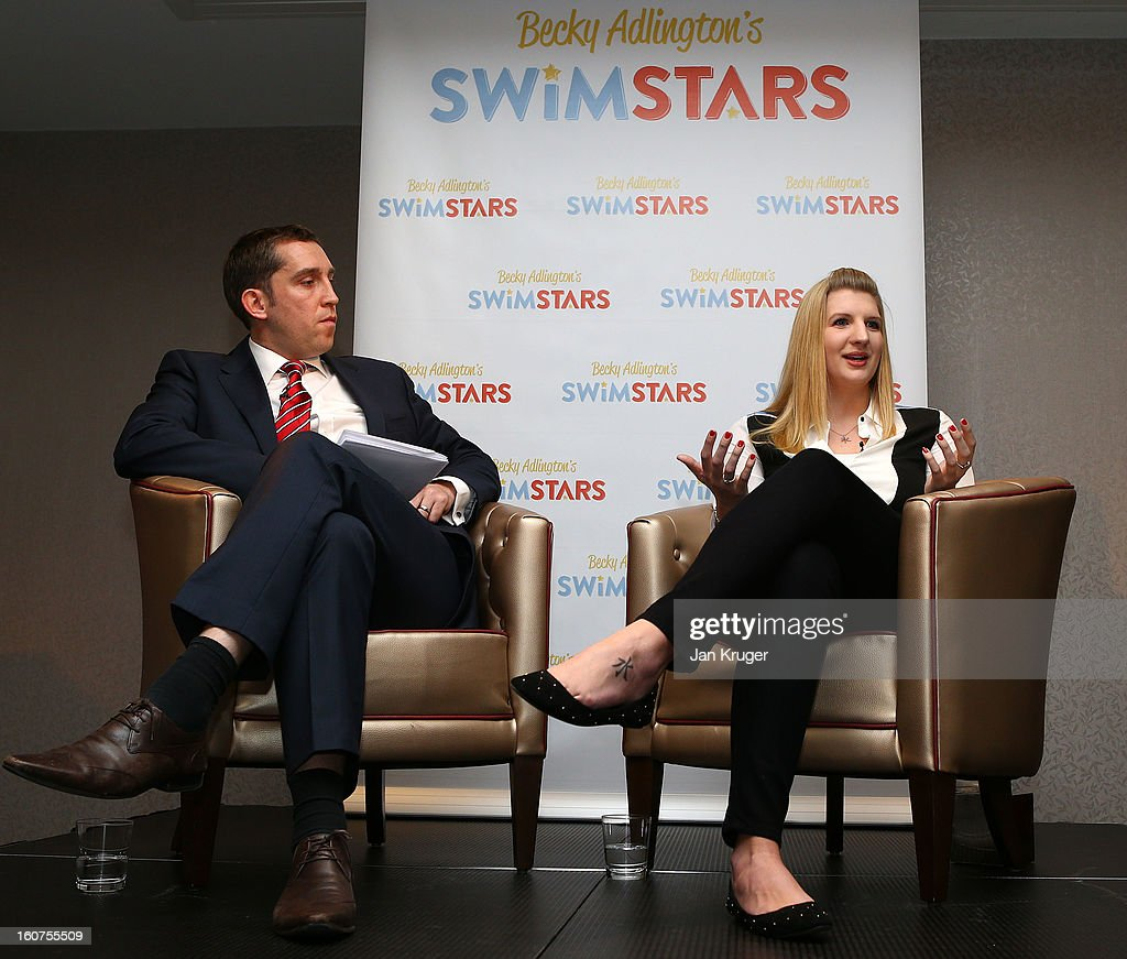 Rebecca Adlington answers questions from Steve Parry (L) and other media during a press conference as she announces her retirement from swimming, at InterContinental London Westminster Hotel on February 5, 2013 in London, England.
