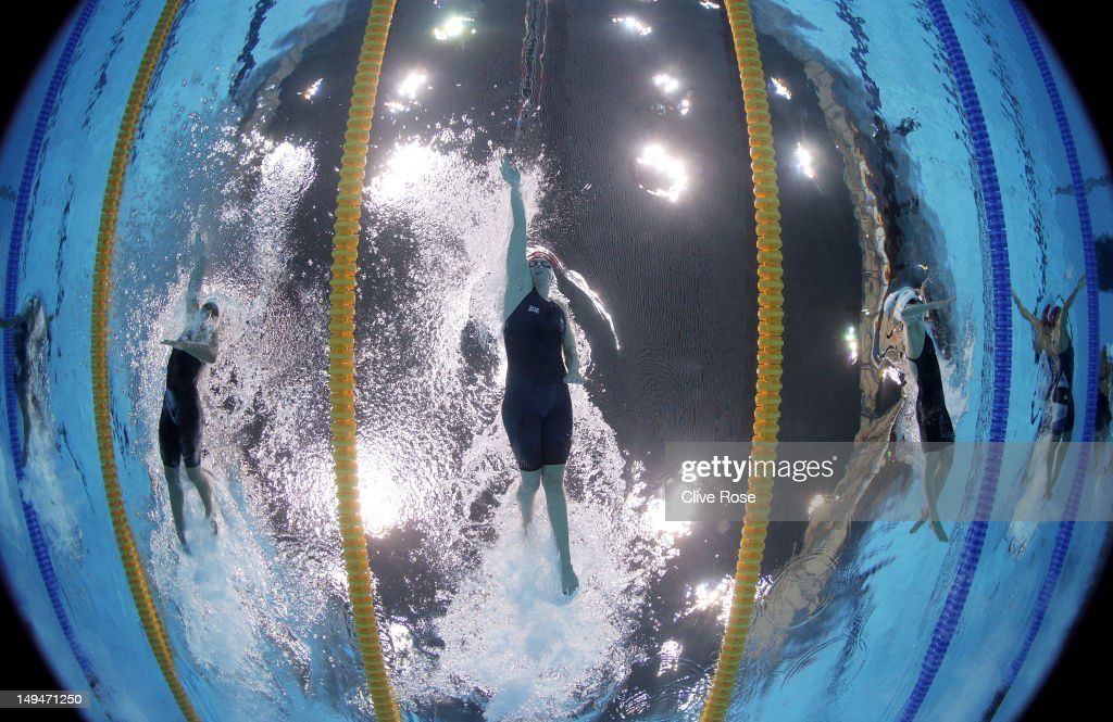 <a gi-track='captionPersonalityLinkClicked' href=/galleries/search?phrase=Rebecca+Adlington&family=editorial&specificpeople=872897 ng-click='$event.stopPropagation()'>Rebecca Adlington</a> (C) of Great Britain competes in the Women's 400m Freestyle heat 3 on Day 2 of the London 2012 Olympic Games at the Aquatics Centre on July 29, 2012 in London, England.