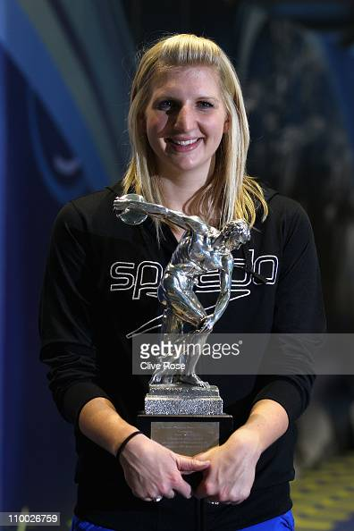 Rebecca Adlington of Great Britain poses with the BOA Olympic athlete of the year award during day eight of the British Swimming Championships at the...