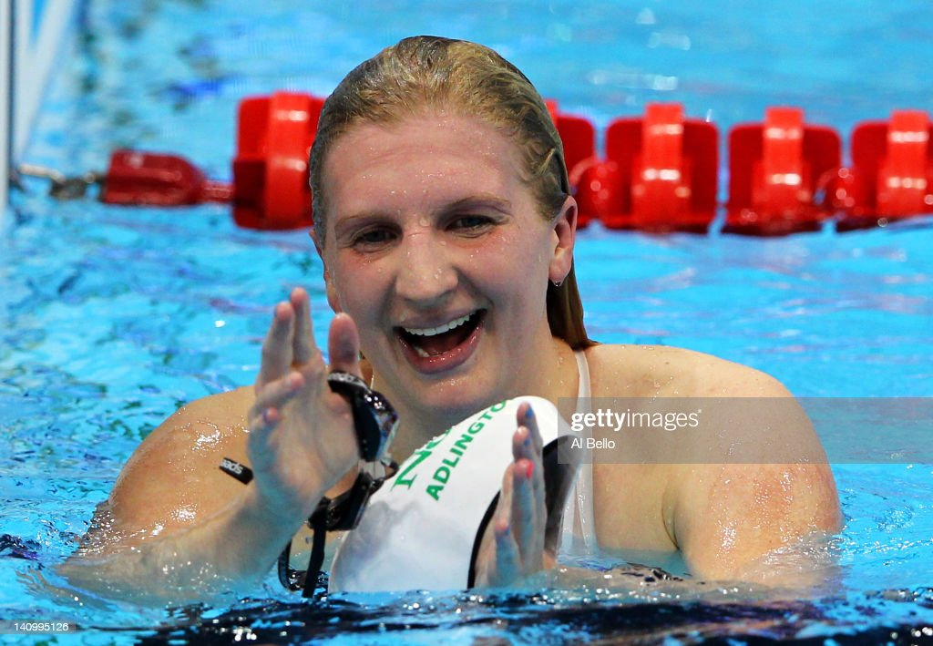 <a gi-track='captionPersonalityLinkClicked' href=/galleries/search?phrase=Rebecca+Adlington&family=editorial&specificpeople=872897 ng-click='$event.stopPropagation()'>Rebecca Adlington</a> of Nova Centurion SC smiles after winning the Women's 800m Freestyle Final during day seven of the British Gas Swimming Championships at The London Aquatics Centre on March 9, 2012 in London, England.