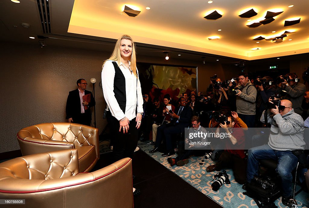 <a gi-track='captionPersonalityLinkClicked' href=/galleries/search?phrase=Rebecca+Adlington&family=editorial&specificpeople=872897 ng-click='$event.stopPropagation()'>Rebecca Adlington</a> poses during a press conference as she announces her retirement from swimming, at InterContinental London Westminster Hotel on February 5, 2013 in London, England.