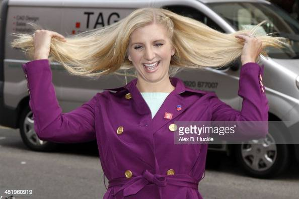 Rebecca Adlington sighted arriving at Claridges for a Hugh Jackman interview on April 2 2014 in London England