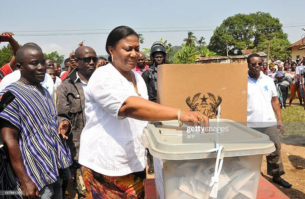 Rebecca Akufo-Addo, the wife of presidential candidate of the opposition New Patriotic Party (NPP) Nana Akufo-Addo casts her ballot as she votes at the Asante-Achimagogo polling station on December 7, 2012. Ghana will be seeking to live up to its potential in the election on December 7, 2012 as an example of stable democracy in West Africa, an often turbulent region that has seen more than its share of military coups and rigged votes. AFP PHOTO / STRINGER