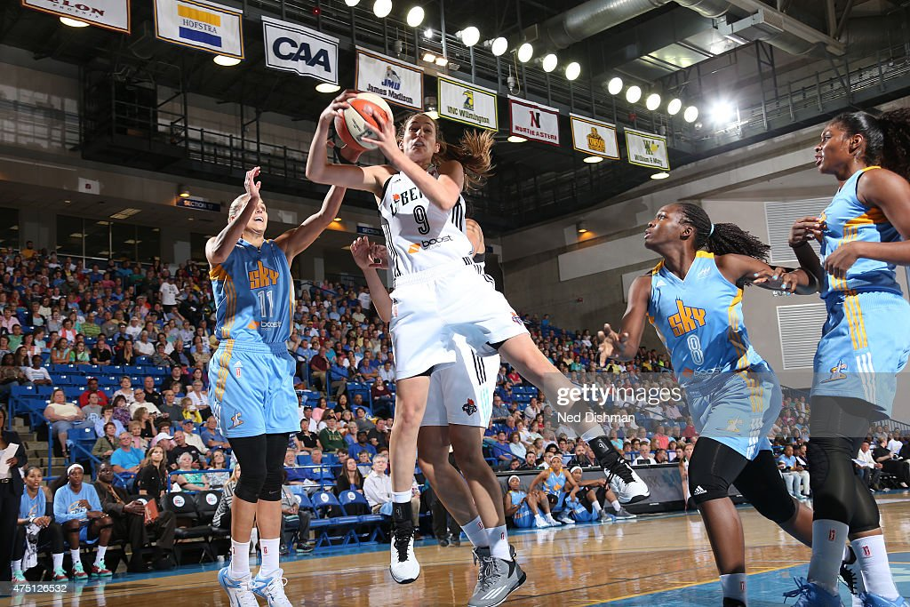 Rebecca Allen of the New York Liberty grabs a rebound against the Chicago Sky at the Bob Carpenter Center in Newark DE on May 22 2015 NOTE TO USER...